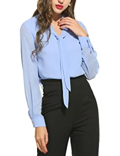 78052826981fe Loveje Women s Long Sleeve Chiffon Button Down Office Work Blouse Shirt Top  White