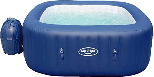 Bestway Lay-Z-Spa Hawaii AirJet - Jacuzzi hinchable con función de masaje, azul, rectangular, 180 x 180 x 71 cm, 4-6 personas, color gris: Amazon.es: Jardín