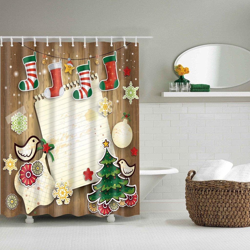 top-sell Weihnachten Duschvorhang für Bad, 3D wasserdicht Polyester ...