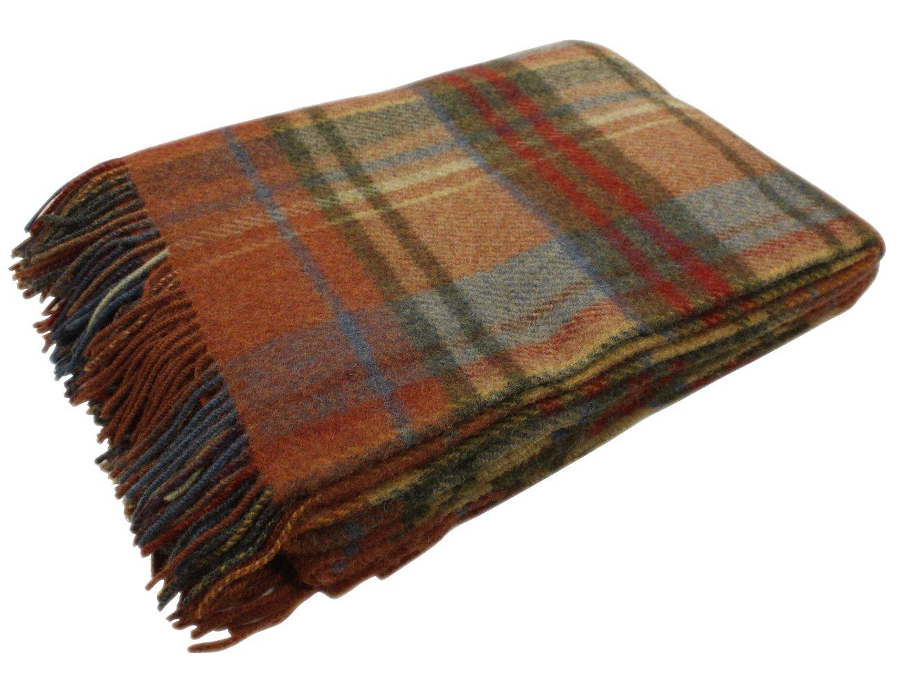 Wool Throw Blanket 54'' x 72'' Orange Plaid Irish Made
