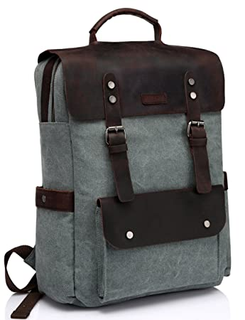 Amazon.com: Vaschy Vintage Leather Backpack for Women and Men ...