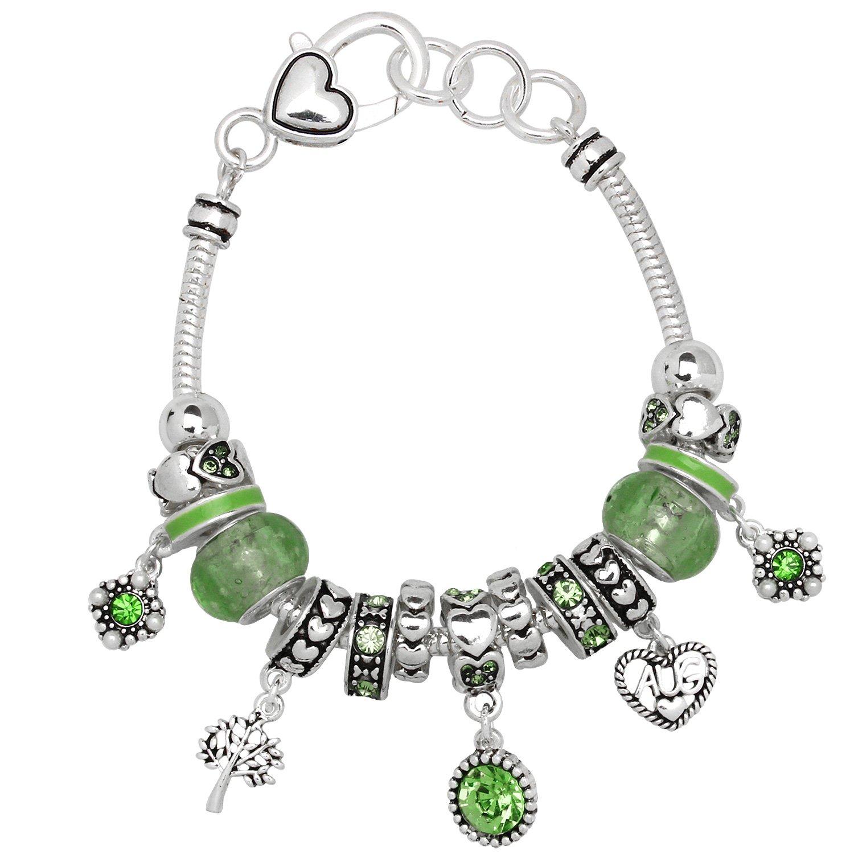 Falari Birthstone Bracelet Multi-Color Charm Beads Silvertone August OB07234-AUG