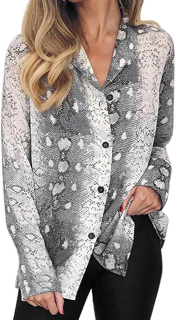 Luckycat Camisetas Manga Larga Mujer Tops Elegante Blusa Oficina Fiesta Estampado de Leopardo Estampado Serpiente: Amazon.es: Ropa y accesorios