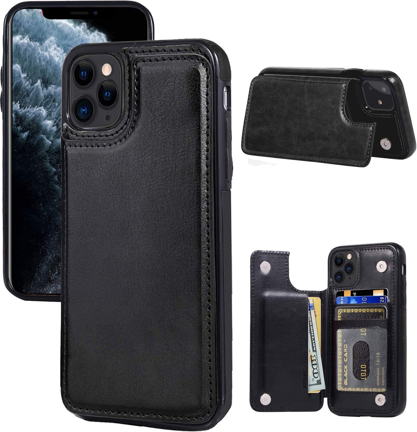 """JOYAKI iPhone 11 Pro Wallet Case with Card Holder,Premium PU Leather Kickstand Card Slots Case with a Screan Protector,Double Magnetic Clasp and Shockproof Cover for iPhone 11 Pro(5.8"""")-Black"""