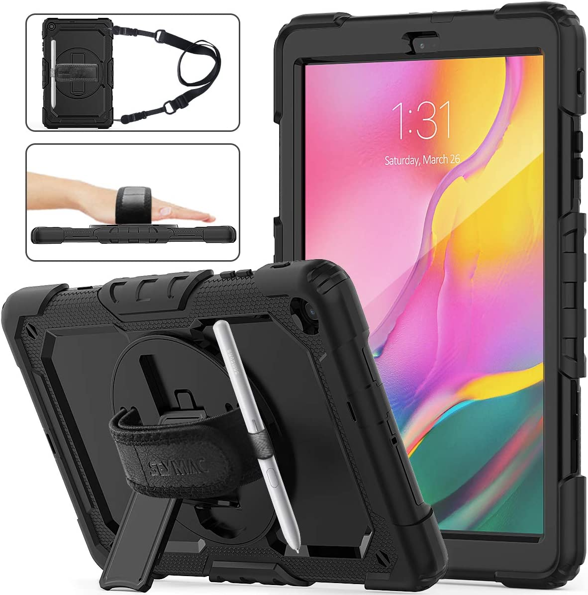 SEYMAC STOCK for Samsung Galaxy Tab A 10.1 T510/T515/T517 Case 2019, Three Layer Drop Protection Case with [360 Rotating Stand] Hand Strap [Screen Protector] for Samsung Galaxy Tab A 10.1 (Black)