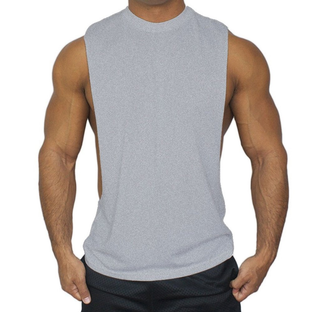 ZUEVI Men's Muscular Cut Open Sides Bodybuilding Tank Top(Gray-M-S)