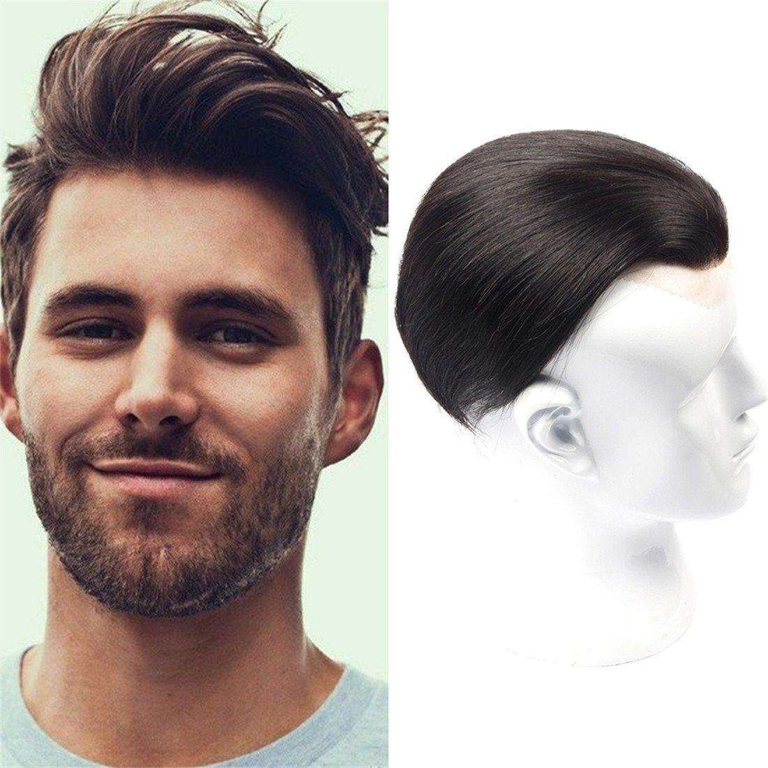 Human Hair Toupee For Men 4.4x6.8 inches Thin Skin Base Men Closure Hair Piece 100% Swiss Natural Hair Toupee (11 INCH, NATURAL COLOR)