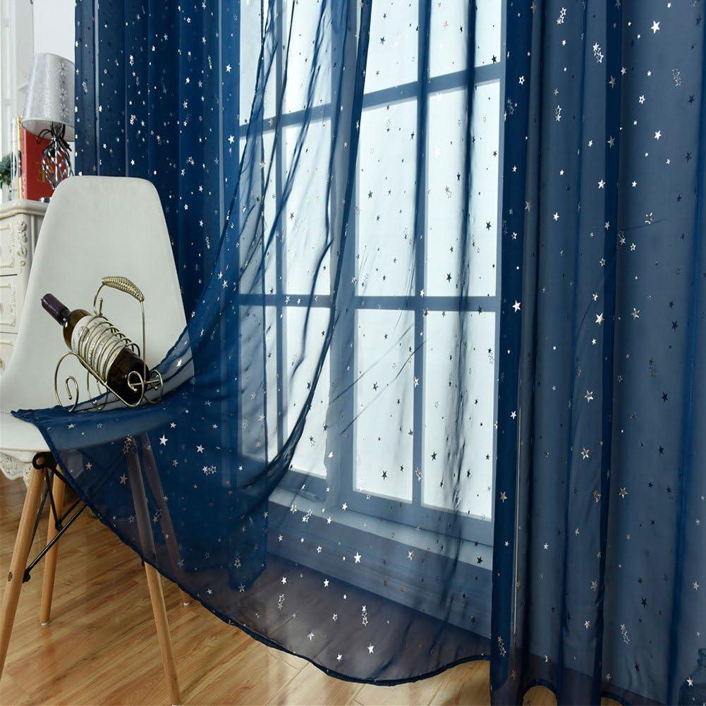 voilage pour fen/être et chambre denfant Rideaux en tulle /étoil/é bleu marine 100x200cm-through a rod