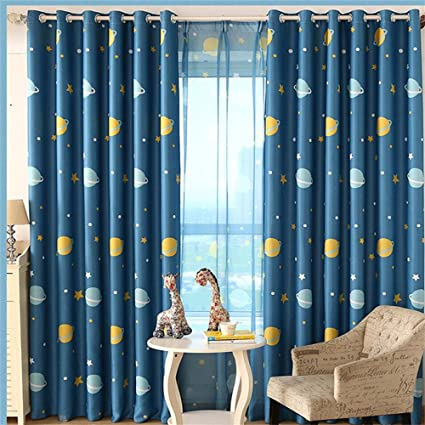 Amazing WPKIRA Window Treatment Kids Room Printed Blackout Curtains Room Darkening  Thermal Insulated Grommet Top Planet Panel