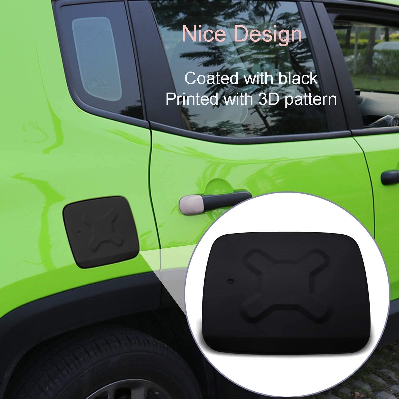 Fuel Filler Gas Cap Cover Aluminum Black Exterior Accessories Gas Tank Cover for Jeep Renegade 2015-2018