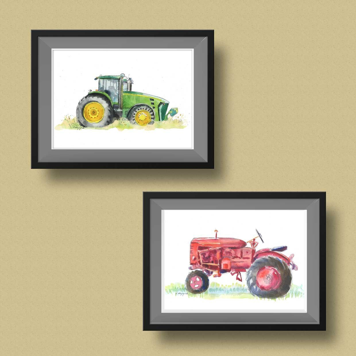 Amazon.com: Green Farm Tractor Wall Art / Tractor Art Print / Truck ...
