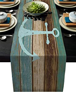 Linen Burlap Table Runner, Anchor Kitchen Table Runners for Family Dinner, Banquet, Parties and Celebrations, Timeworn Marine on Weathered Wooden Planks Rustic Nautical Theme Table Decor, 13 x 70 inch