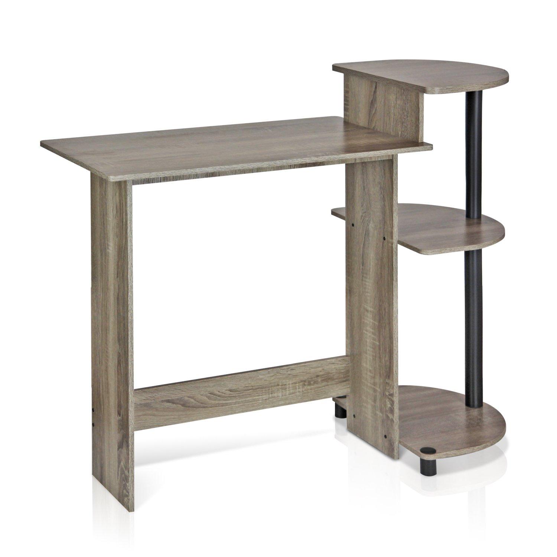 FURINNO 11181GYW/BK Computer Desk, Round Side Shelves, French Oak Grey/Black