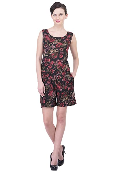 04c2f70194b Trendif Red N Multicolor Poly Crepe Designer Playsuit  Amazon.in  Clothing    Accessories