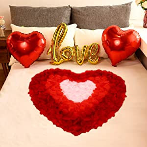 Valentines Day Red Wedding Decorations Artificial Petals Heart Shaped Love Foil Balloons Silk Rose Petals Romantic Design for Wedding Engagement Anniversary Confetti Centerpieces Cake Table Decoration