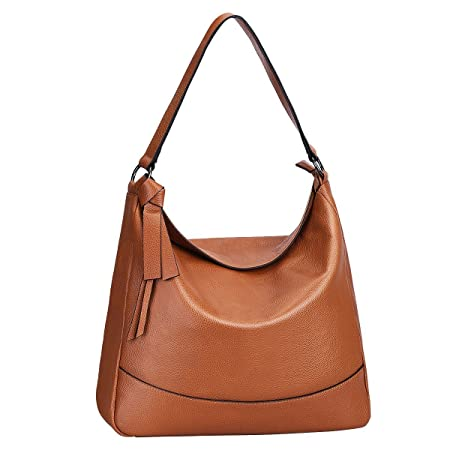 9b66a6798f S-Zone Women s Genuine Leather Handbag Hobo Bag Medium Tote Shoulder Bag  Messenger Bag  Amazon.co.uk  Luggage