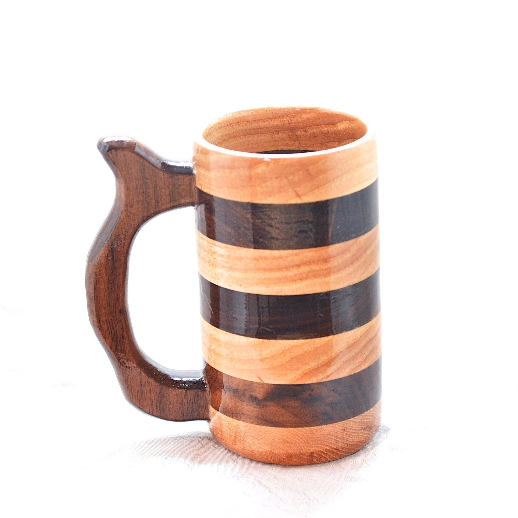12 Ounce Hickory and Walnut Beer Mug, Beer Stein, Wood Tankard, Wooden Mug, Drinking Mug, Coffee Mug