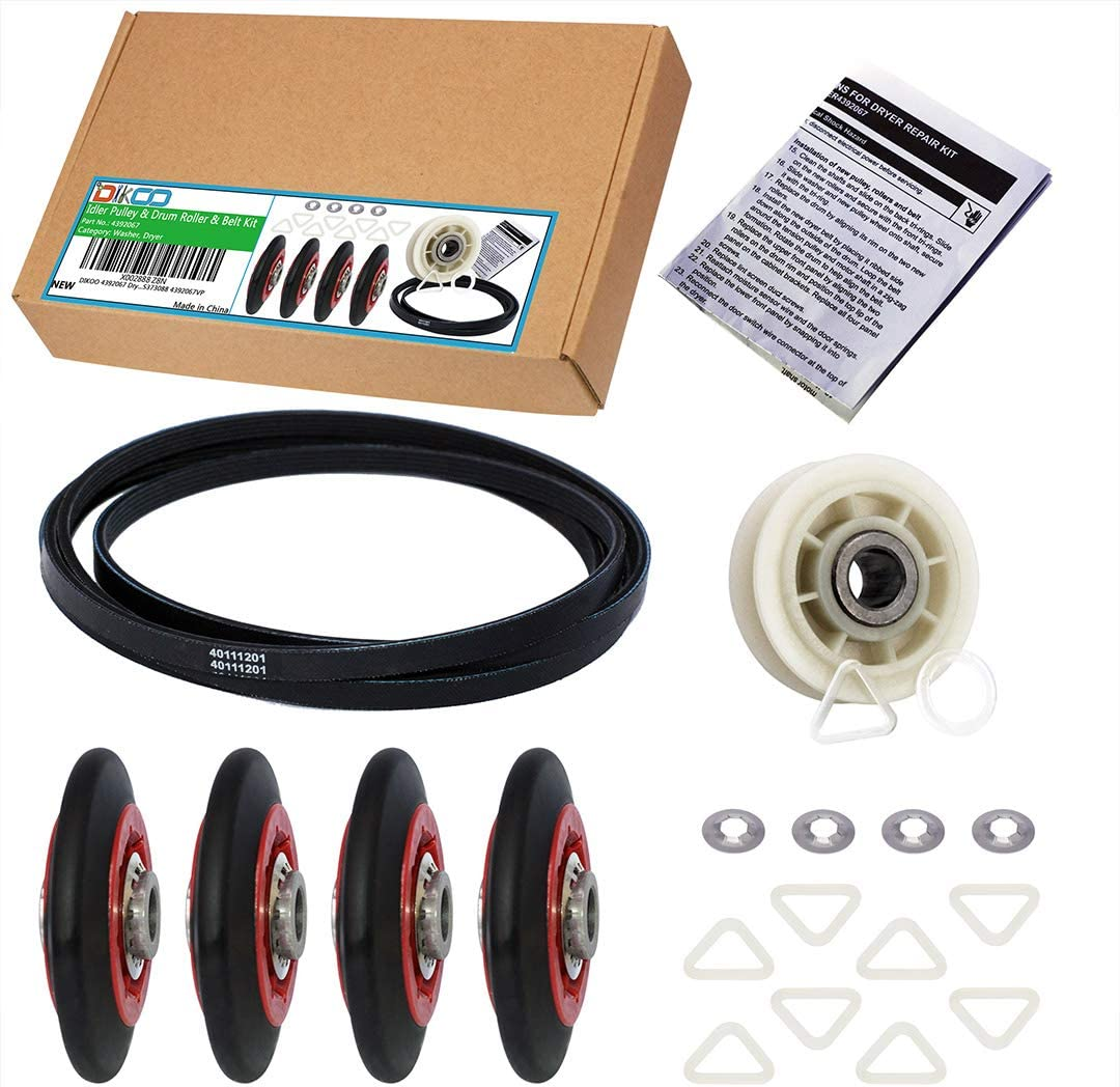 DIKOO 4392067 Dryer Repair Kit with 40111201 Belt and 279640 Idler Pulley and W10314173 Drum Roller For Whirlpool Maytag Kenmore 661570 4392067VP PS373088 4392067VP