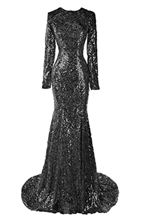 LovelyBridal Hot Sale Long Sequins Lace Black Mermaid Evening ...