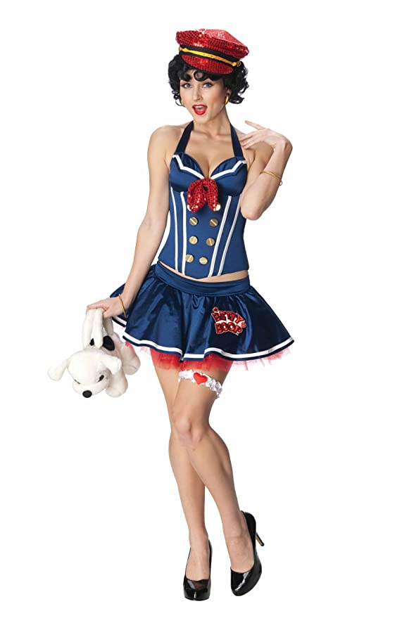 1930s Costumes- Bride of Frankenstein, Betty Boop, Olive Oyl, Bonnie & Clyde Betty Boop Secret Wishes Sailor Corset Costume $126.29 AT vintagedancer.com