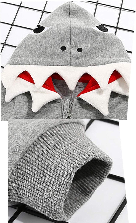 Baby Shark Romper Cute One Piece Cartoon Long Sleeve Hooded Jumpsuit Zipper Climb Clothes Playsuit