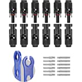 BougeRV 12 PCS Solar Connectors with Spanners Solar Panel Cable Connectors 6 Pairs Male/Female