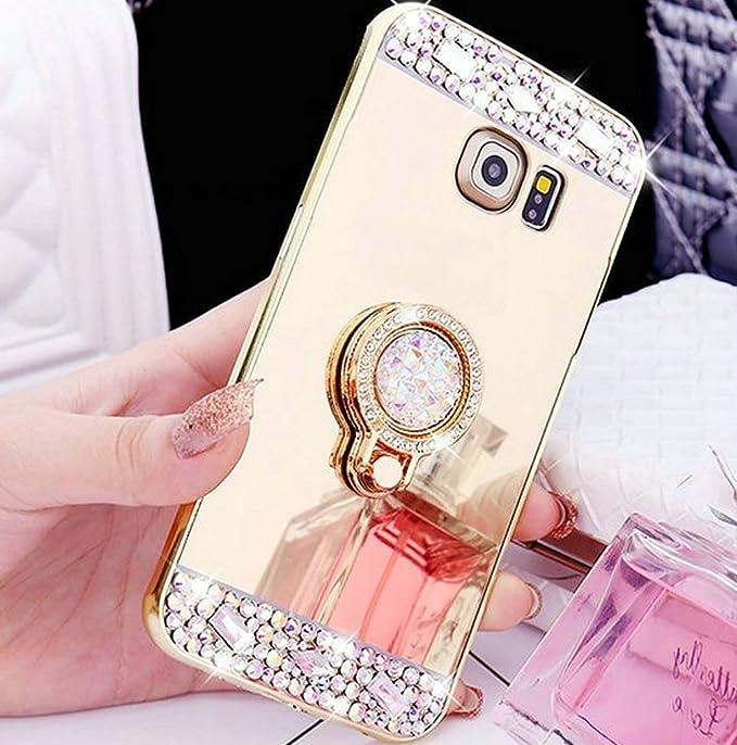 Kompatibel mit Galaxy S7 Edge Hülle,Galaxy S7 Edge Schutzhülle,[Ring Ständer] Glänzend Glitzer Strass Diamant Überzug Spiegel