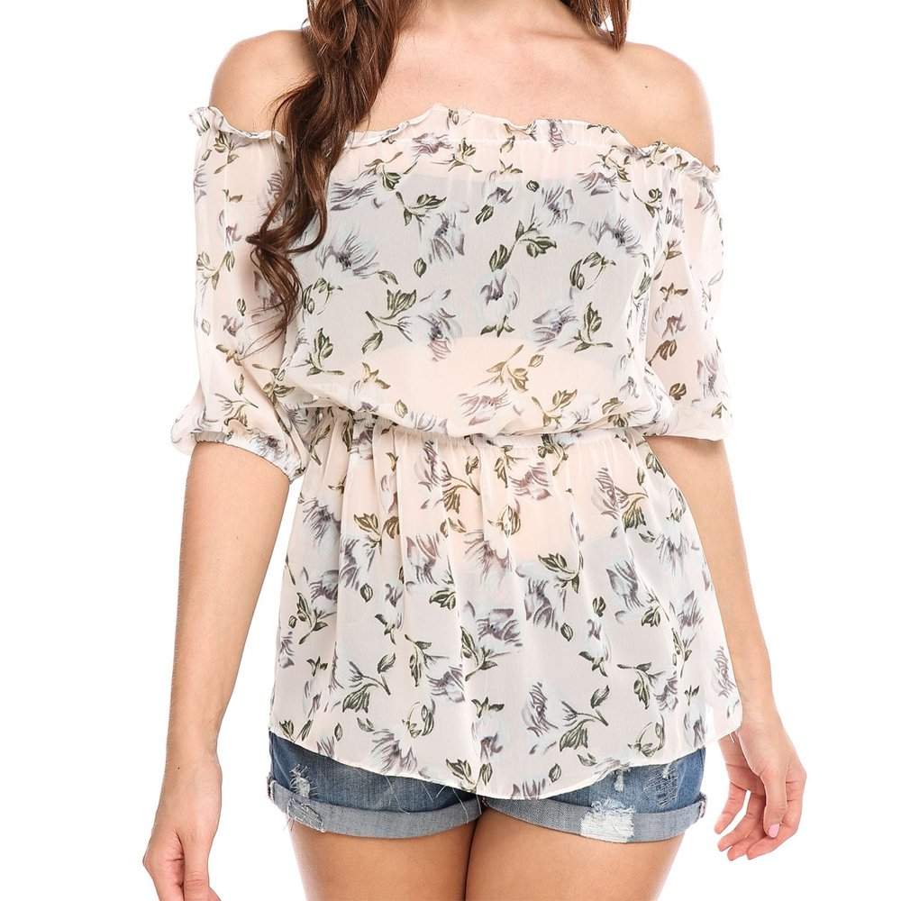Meaneor Women's Off Shoulder Short Sleeve Floral Print Chiffon Tops