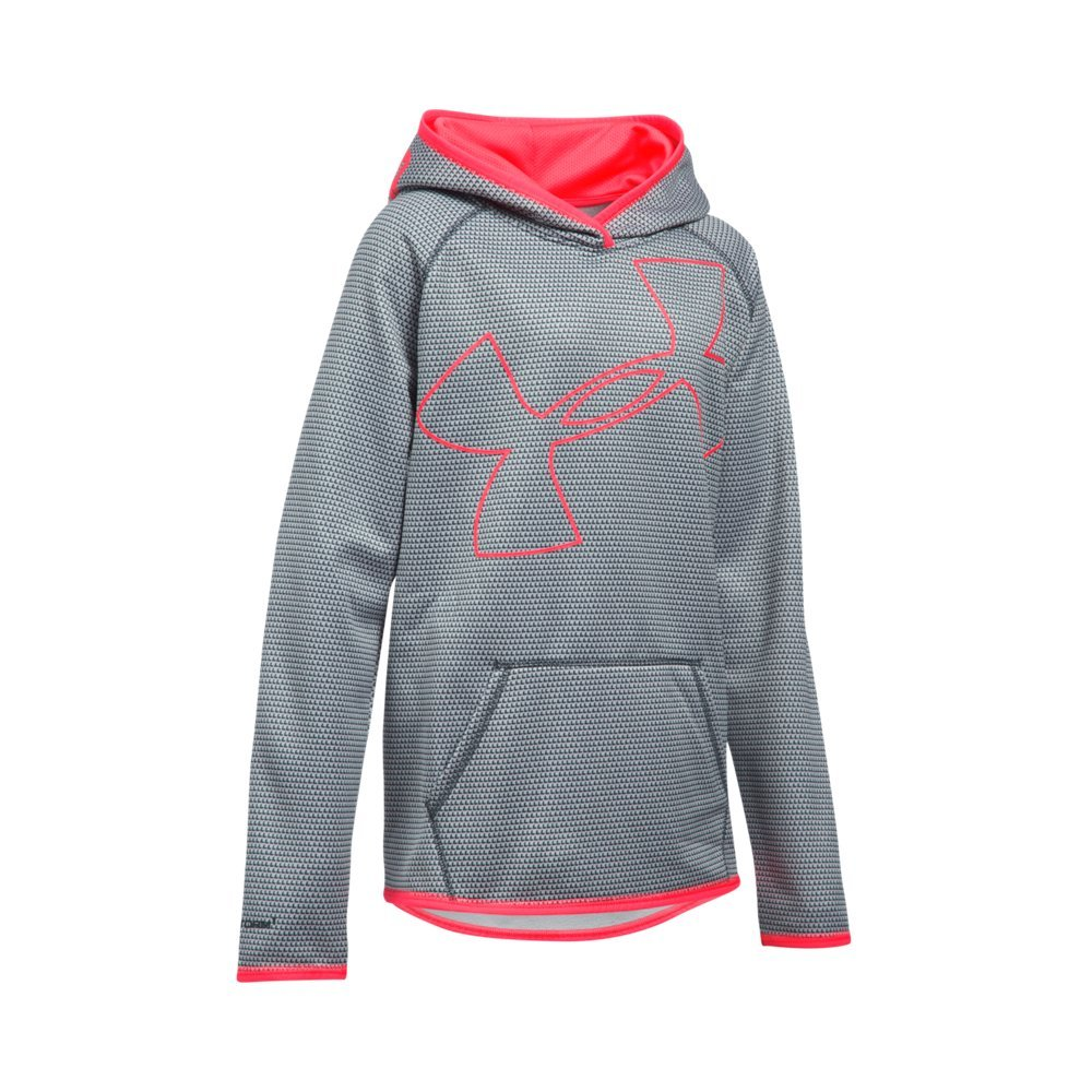 Under Armour Girls' Armour Fleece Novelty Jumbo Logo Hoodie, Stealth Gray (011)/Pink Chroma, Youth Medium by Under Armour