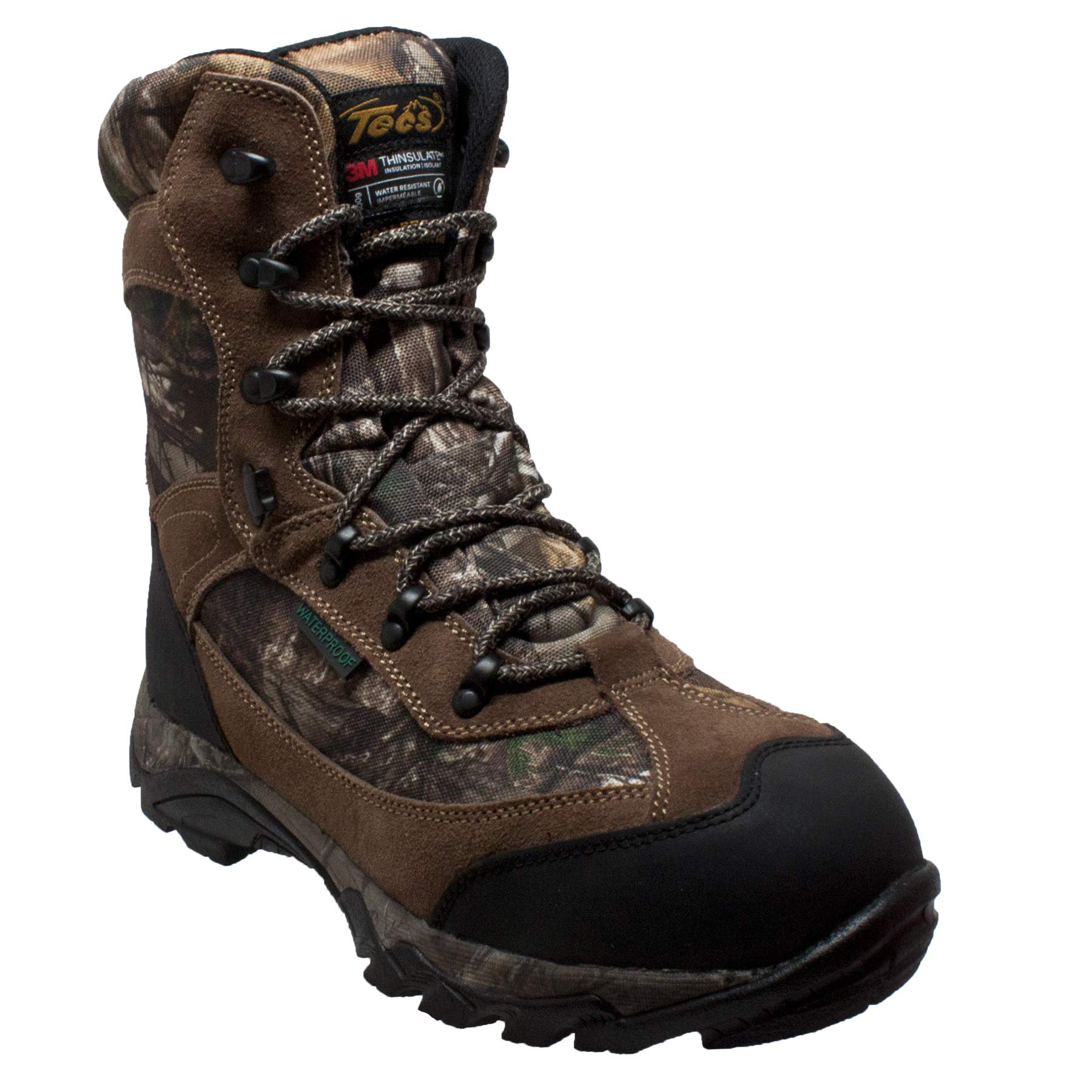 TECS Men's 9'' Leather Boots: Waterproof for Hunting, Fishing, Hiking or Outdoors 400g, Camo, 10 W US by TECS