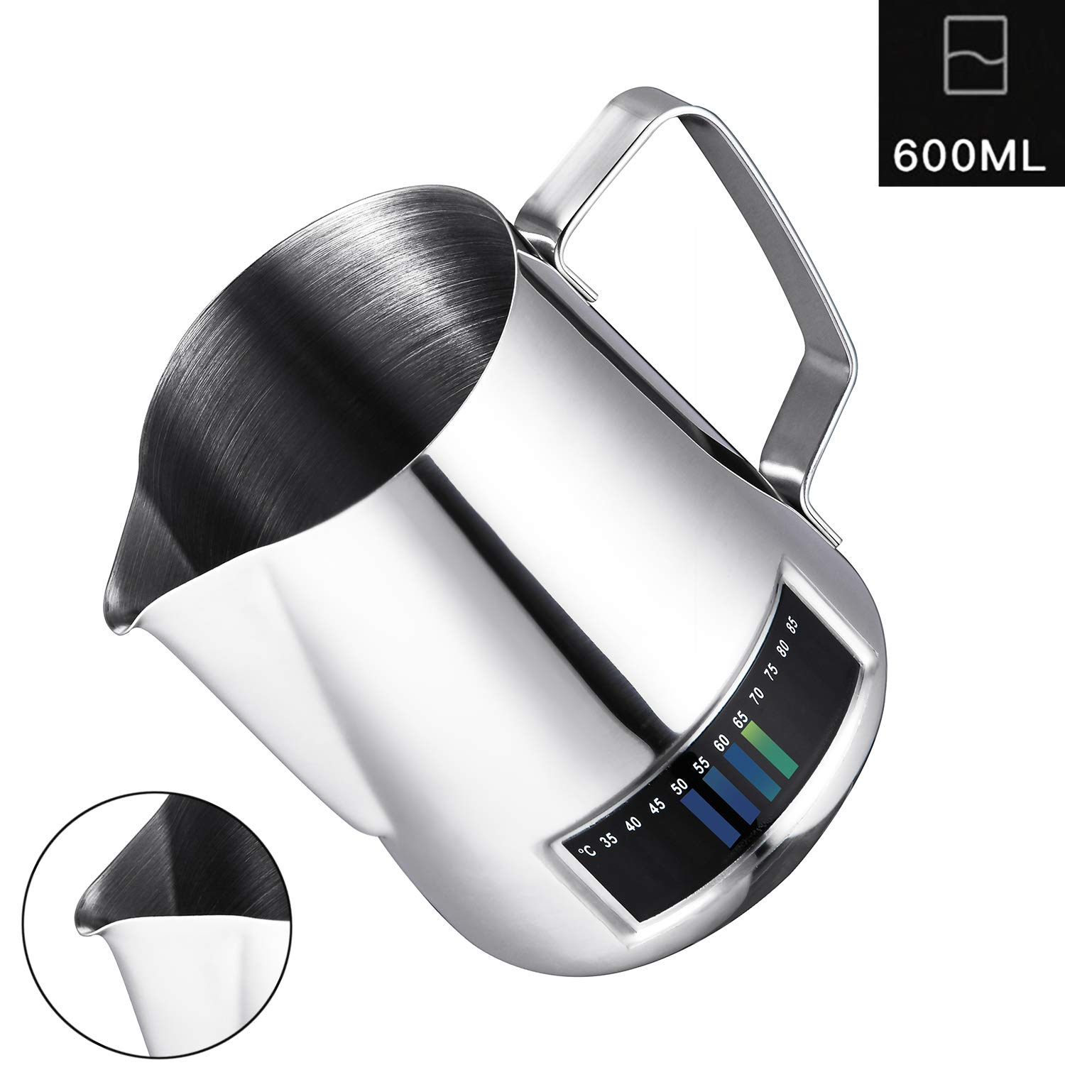 Milk Frothing Pitcher,Coffee4u Stainless Steel Creamer Frothing Pitcher With Integrated Thermometer 20 oz (600 ml), Chrome