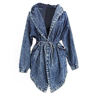 Mailanda Ausgefallene Stylische Damen Lady Jeansstoff Trenchcoat Jeansjacke  Kapuzen Pullover Mantel Hoodie Hooded Outerwear Jean Jacket Jacke One Size   ... d21c4866af