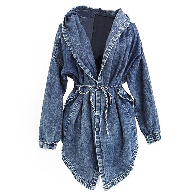 purchase cheap 6028c c75c7 Très Chic Mailanda Donna Giacca Jeans con Cappuccio Cardigan Capispalla  Trench Coat