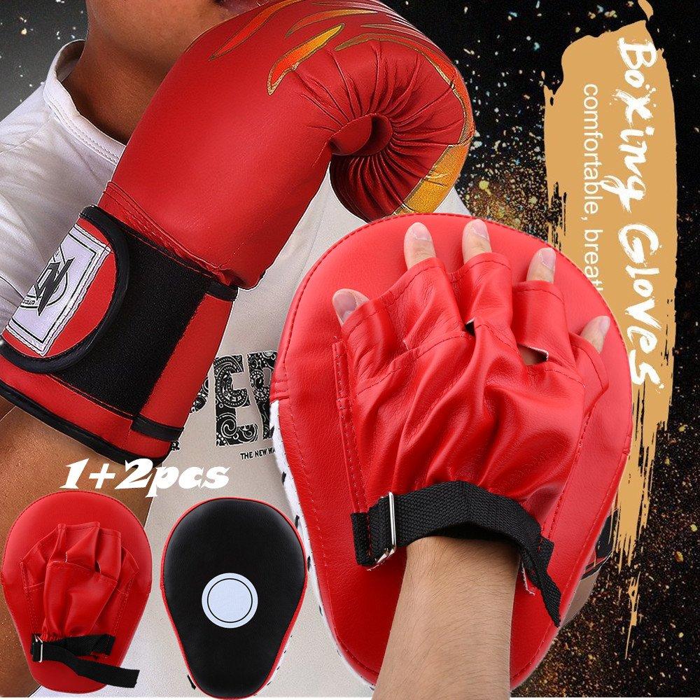 Boxing Punch Mitts MMAパンチミットトレーニングターゲットフォーカスパンチパッド耐熱手袋グローブセット+ PUテコンドーボクシンググローブ大人用ムエタイキックボクシングFighting Flameボクシンググローブ Punch Mitts + 赤 Gloves