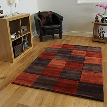 The Rug House Tapis de Salon Designer Resistant Doux à Motif Carreaux  Orange Chaud Rouillé Brun Choco 3 Tailles Banbury