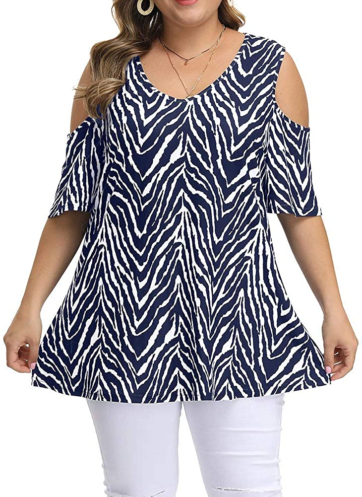Allegrace Womens Plus Size Floral Printing Cold Shoulder Tunic Top Short Sleeve V Neck T Shirt
