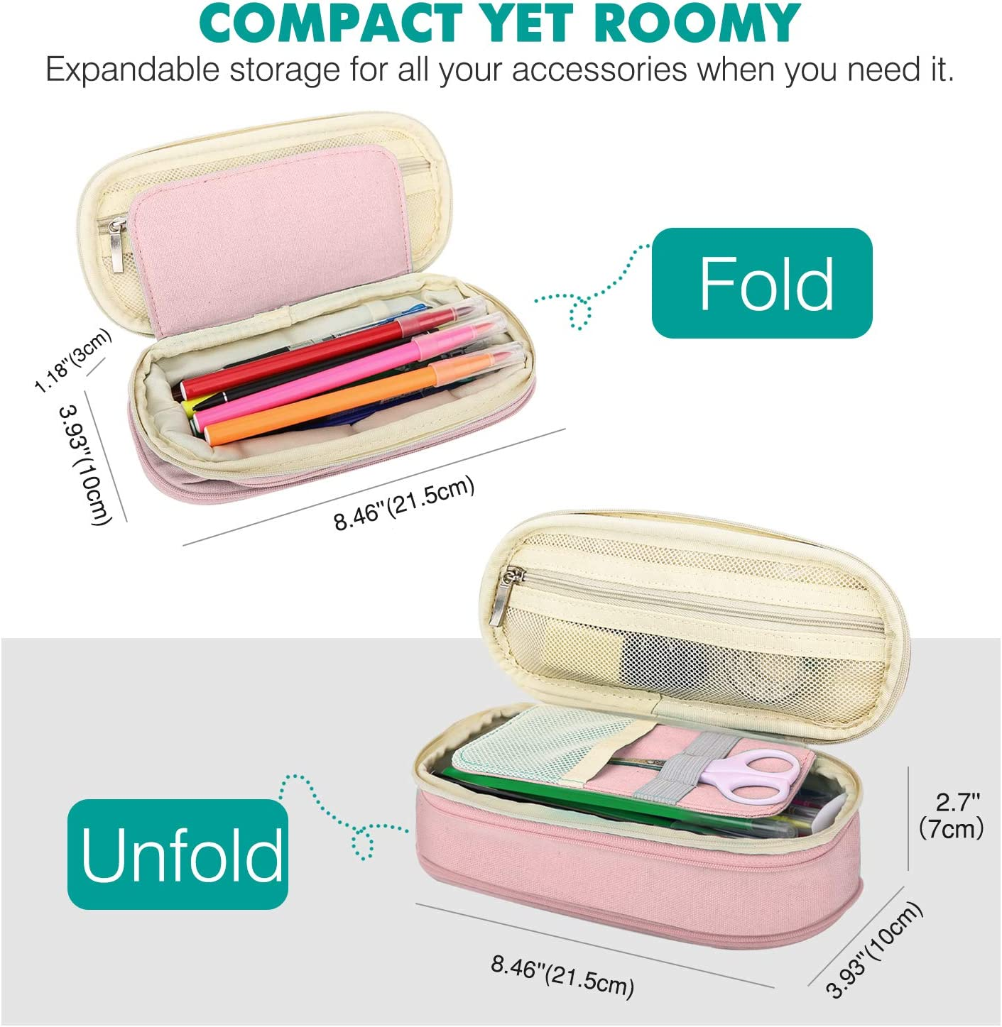 Beige /& Pink MoKo Large Capacity Pencil Pen Case Stationery Organizer with Zippers for Office//School Big Capacity Storage Bag Pouch Holder Box