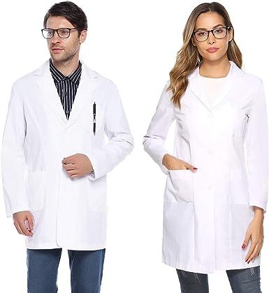 Aibrou Bata de Laboratorio Hombre Blanco, Algodón Bata Enfermero ...