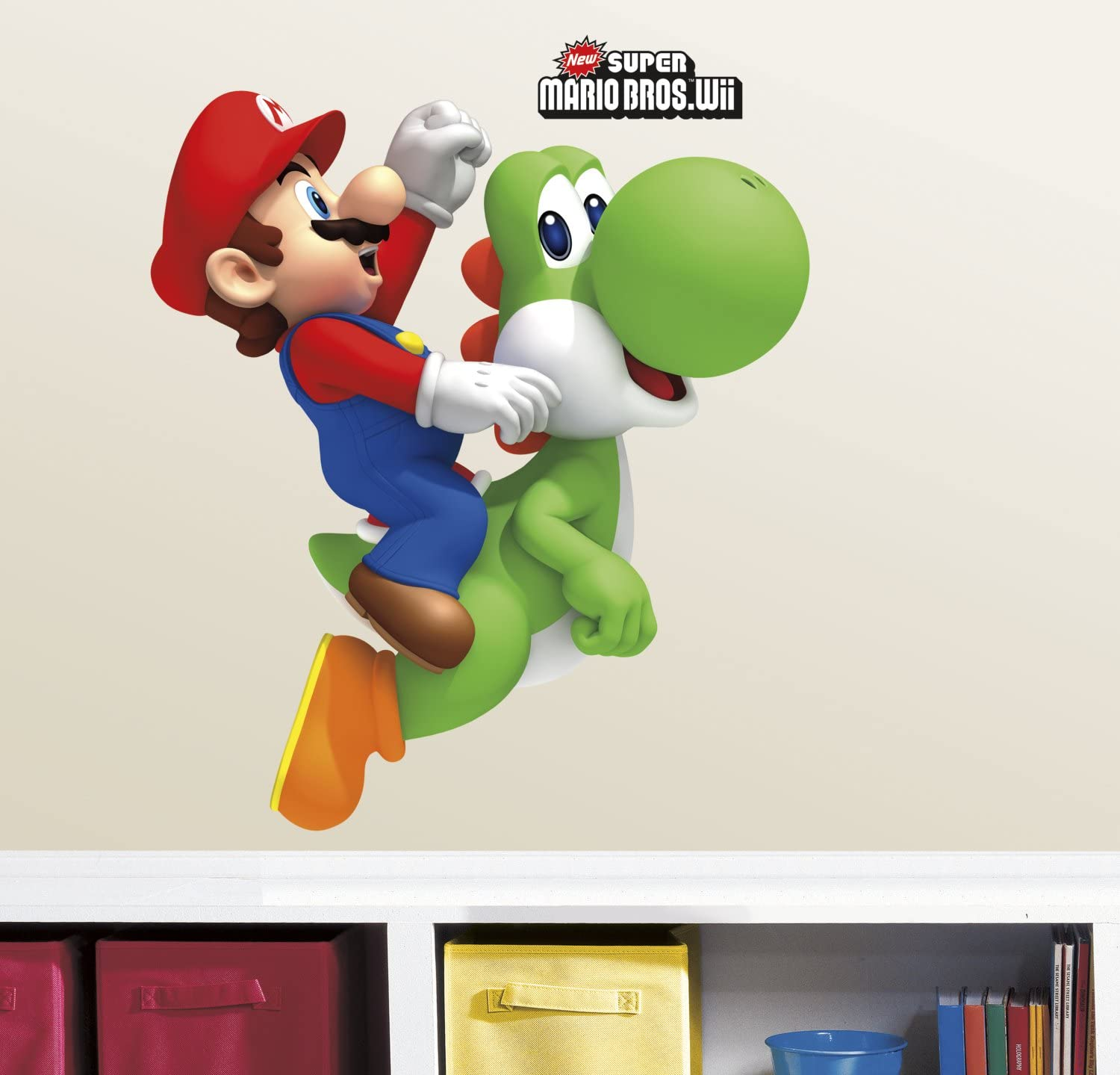 "RoomMates RMK1918GM Ninetendo - Yoshi/Mario Peel & Stick Giant Wall Decals, 23"" x 32"", Multicolor"