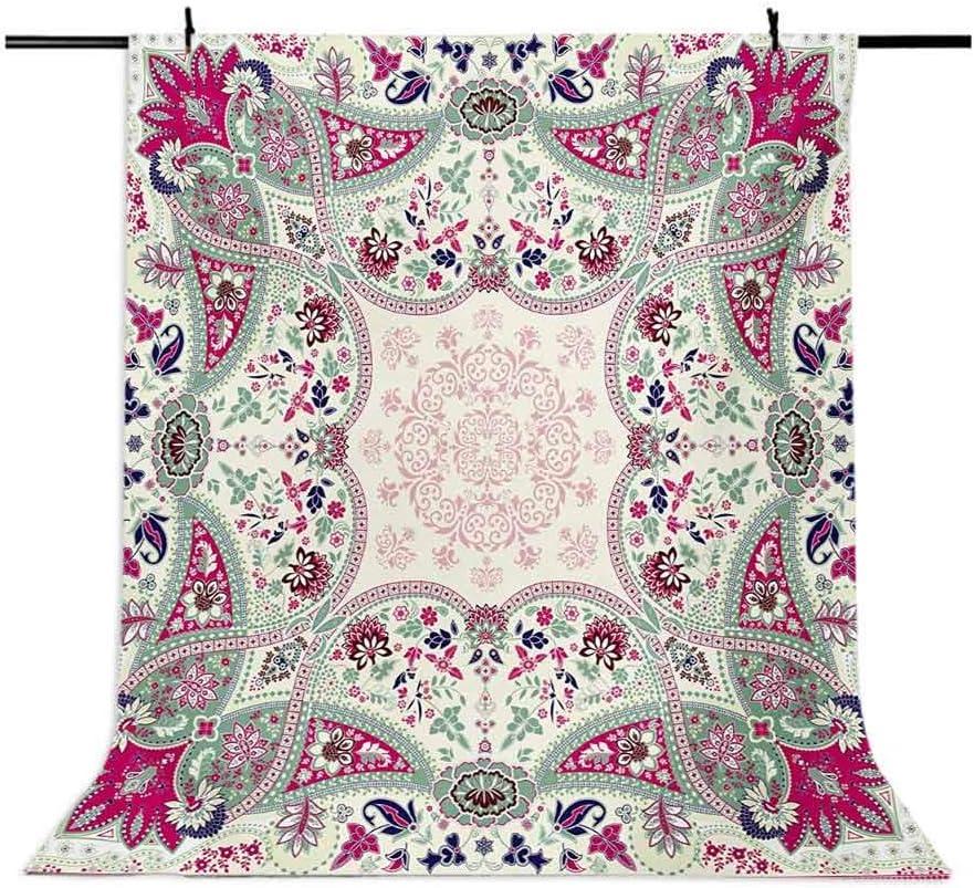 Paisley 10x12 FT Photo Backdrops,Geometric Ornamental Square Print Detailed Modern Stylized Image Background for Baby Shower Birthday Wedding Bridal Shower Party Decoration Photo Studio