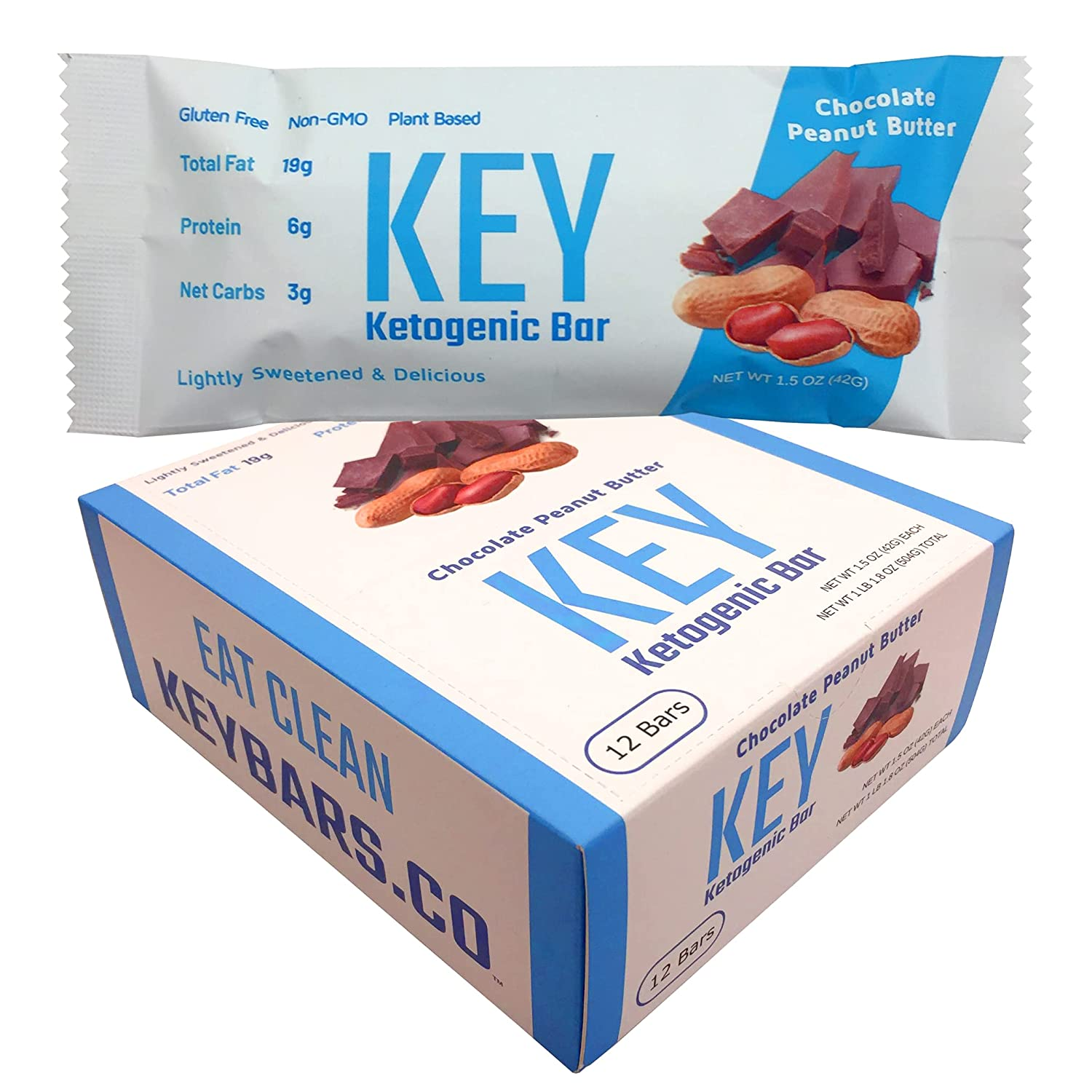 Keto Key Bars - Chocolate Peanut Butter Ketogenic Bars - High Fat, Low Carb. Keto Protein Bars as a Keto Snack Food for on the go Keto Diets. 12 Pack Key Bars
