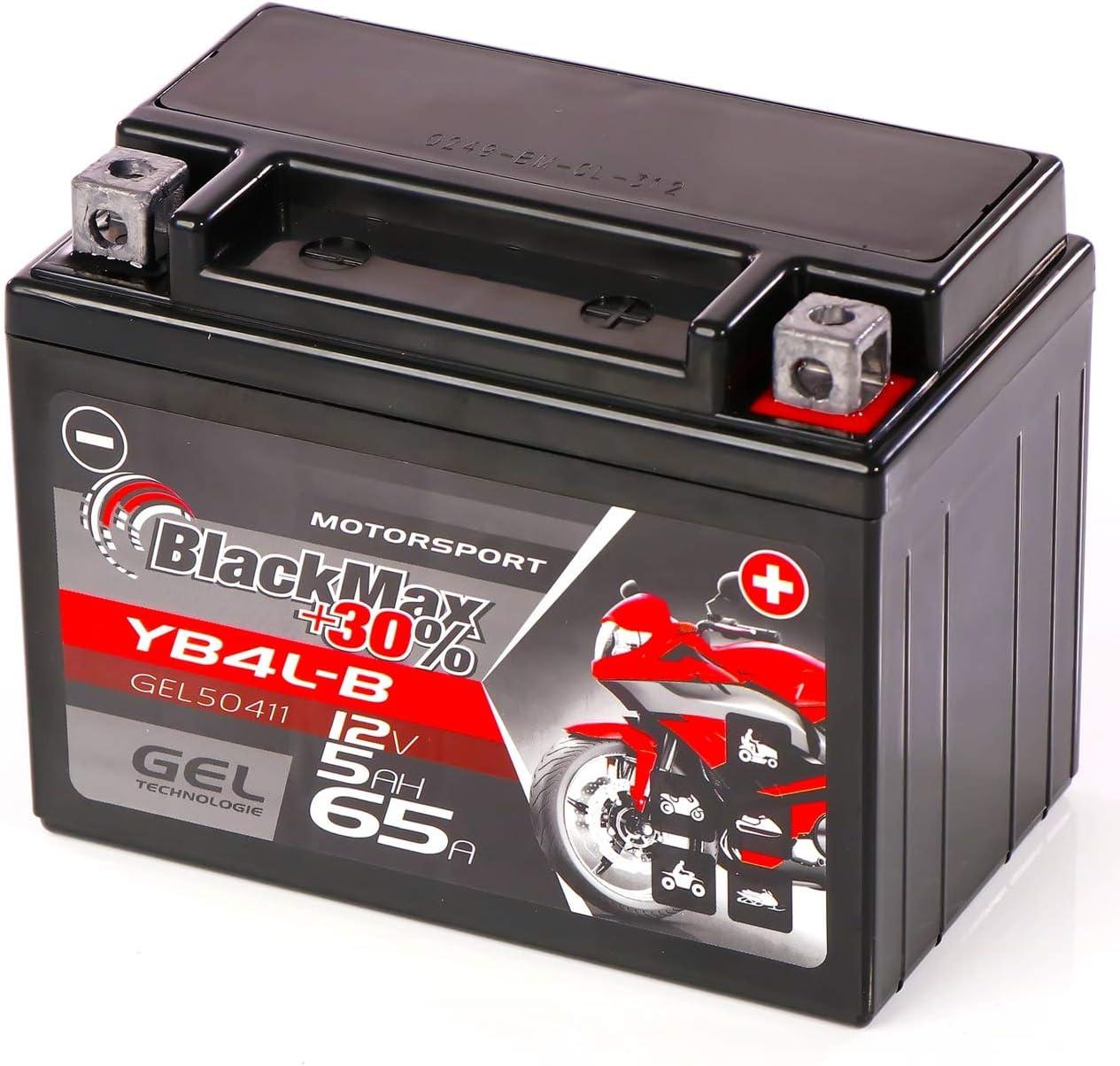 Blackmax Yb4l B Gel Rollerbatterie 12v 5ah Cb4l B 50411 Wartungsfrei Fb4l B Gb4l B Sla4l Bs Auto