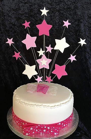 Pink White Star Birthday Cake Topper Jedes Alter S Kann Zusatzliche Plus 1 M X
