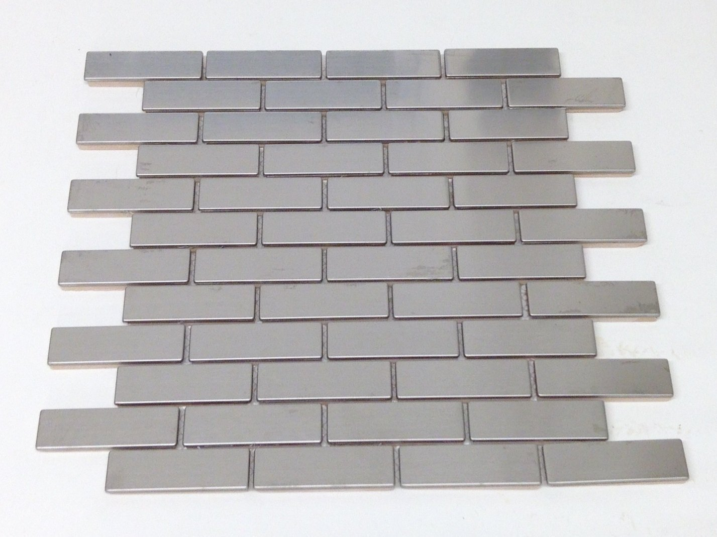 Silver Stainless Steel 1 x 3 inch Backsplash Mosaic Tile
