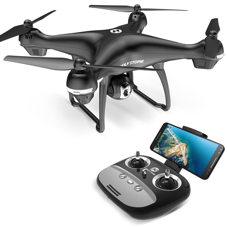 Holy Stone ドローン GPS搭載 1080P広角HDカメラ付き フォローミーモード オートリターンモード 操縦可能距離500M 生中継最大距離300M 画像遅延が無い 最大飛行時間15分 高度維持 モード1/2自由転換可 国内認証済み HS100G   B07CK4X88F