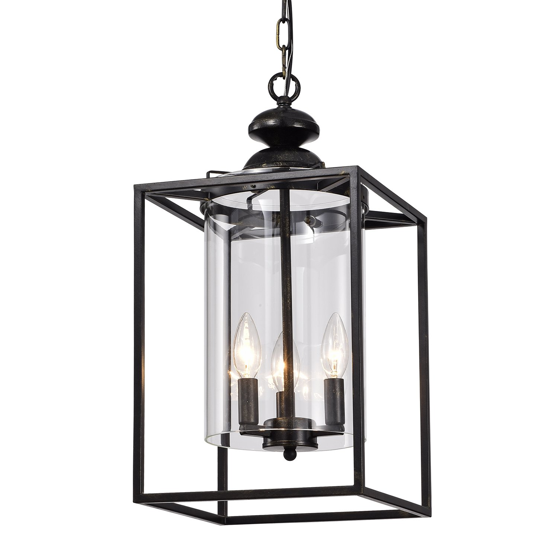 3-Light Antique Bronze Metal Lantern Chandelier with Glass Shades