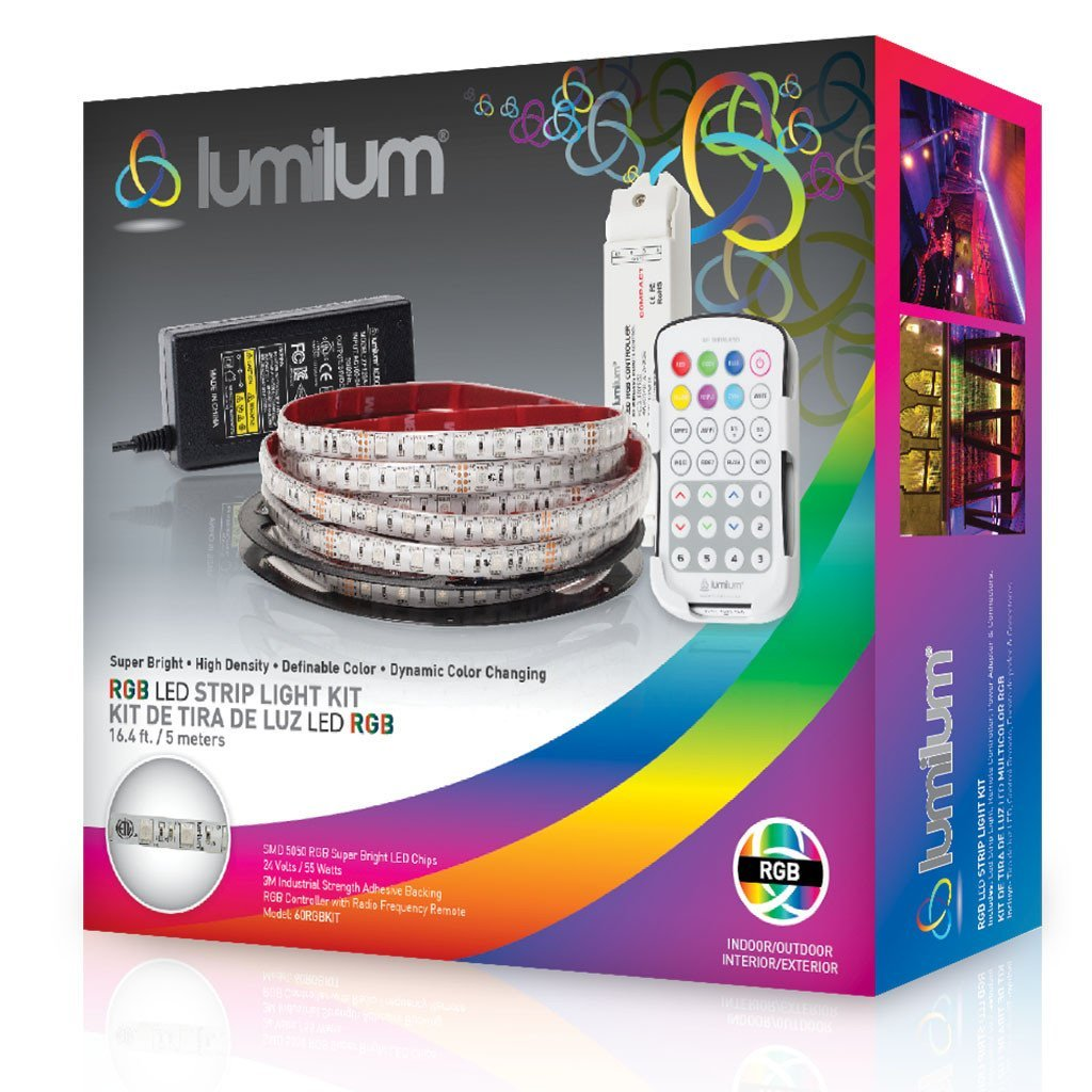 Lumilum 16,4ft (5m) LED Strip Light Kit 24V Low Voltage (RGB Multi Color Change) Fully Certified, 50,000 hours Tested, Dimmable, IP54 Indoor and Outdoor Rated with RF Remote, Power Adapter, Controller