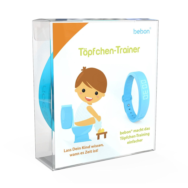 bebon Töpfchen-Trainer, Toiletten-Trainer für Kinder – macht das Töpfchen-Training einfacher – lass Dein Kind wissen, wann es Zeit ist aufs Töpfchen zu gehen (Blau) bebon Töpfchen-Trainer