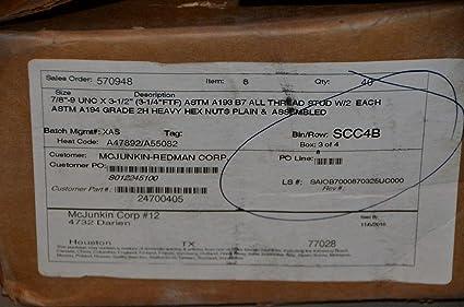 Amazon com: 7/8-9 x 3-1/2 ASTM A193 B7 ALL THREAD STUDS W/2 A194