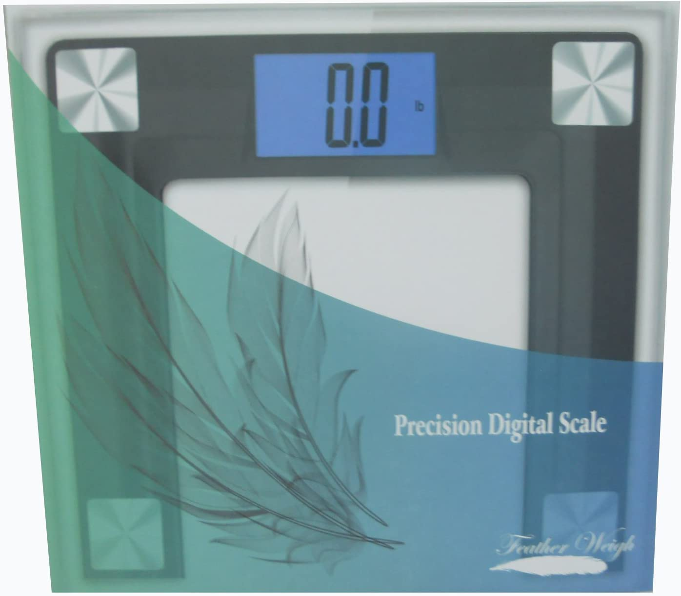 FeatherWeigh Precision Digital Bathroom Scale with Extra Large Backlight Display and Step-on Technology 400lbs Black